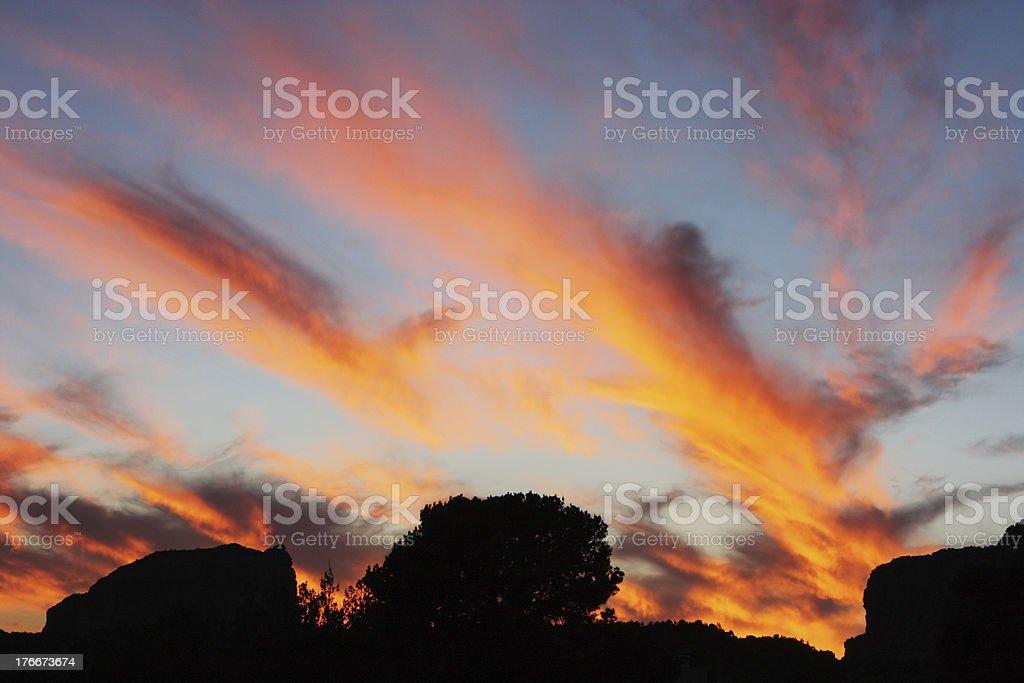 Twilight Sunset Cloudscape Sky Landscape Silhouette royalty-free stock photo