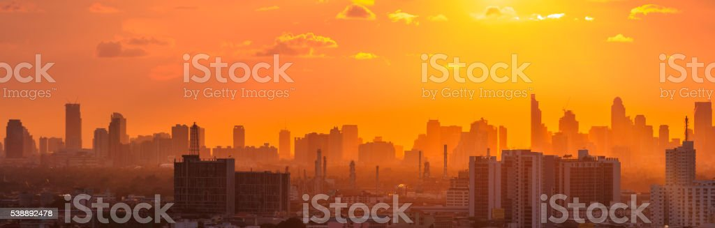 Twilight sunset over Bangkok city stock photo