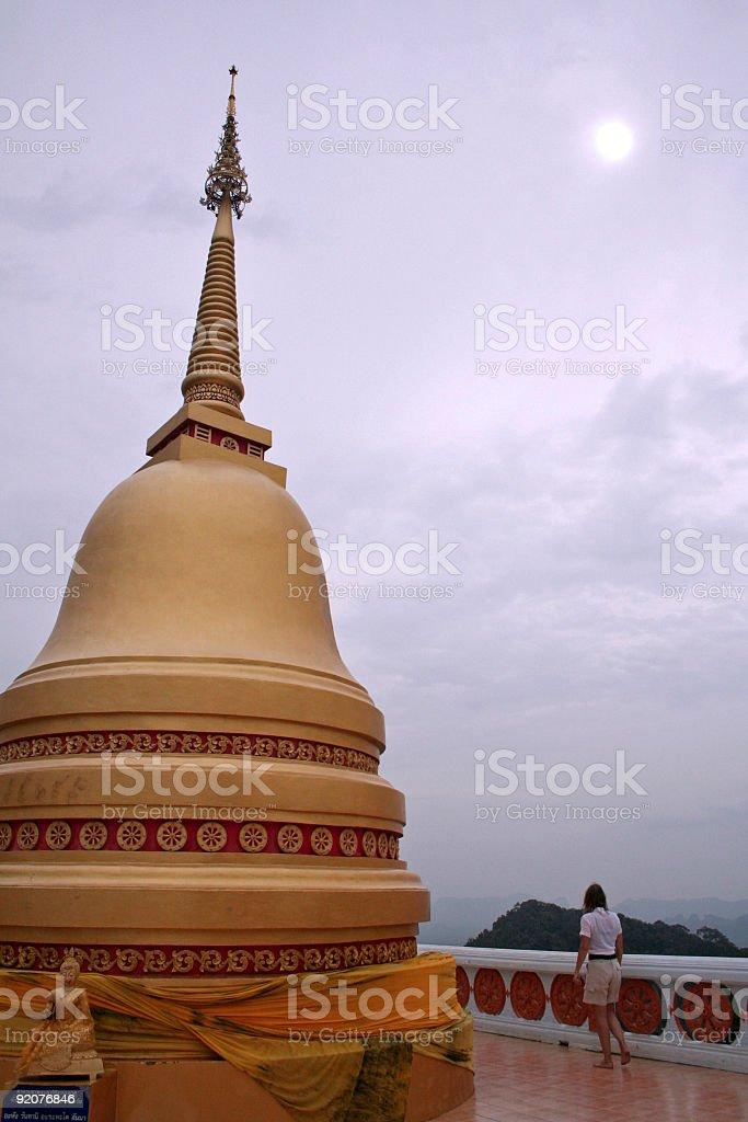 twilight temple stock photo
