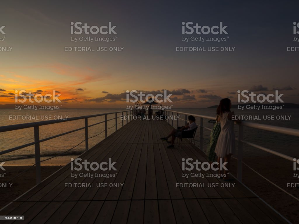 Twilight time on Fusaki beach stock photo