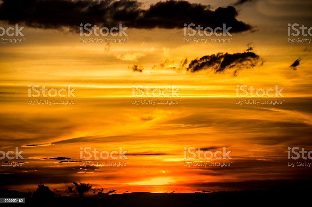 Twilight time,the Golden sky with golden sunrise... stock photo