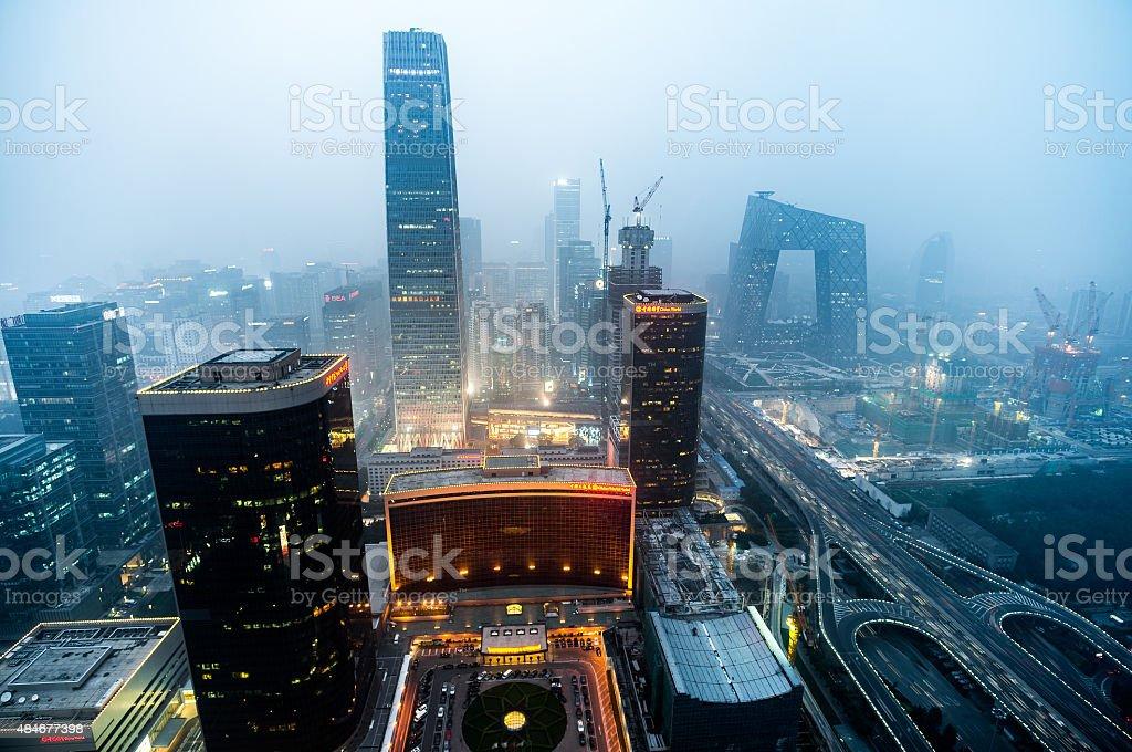 Twilight urban skyline of Beijing Guomao,the capital city of China stock photo