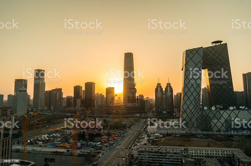 Twilight urban skyline of Beijing,the capital city of China stock photo
