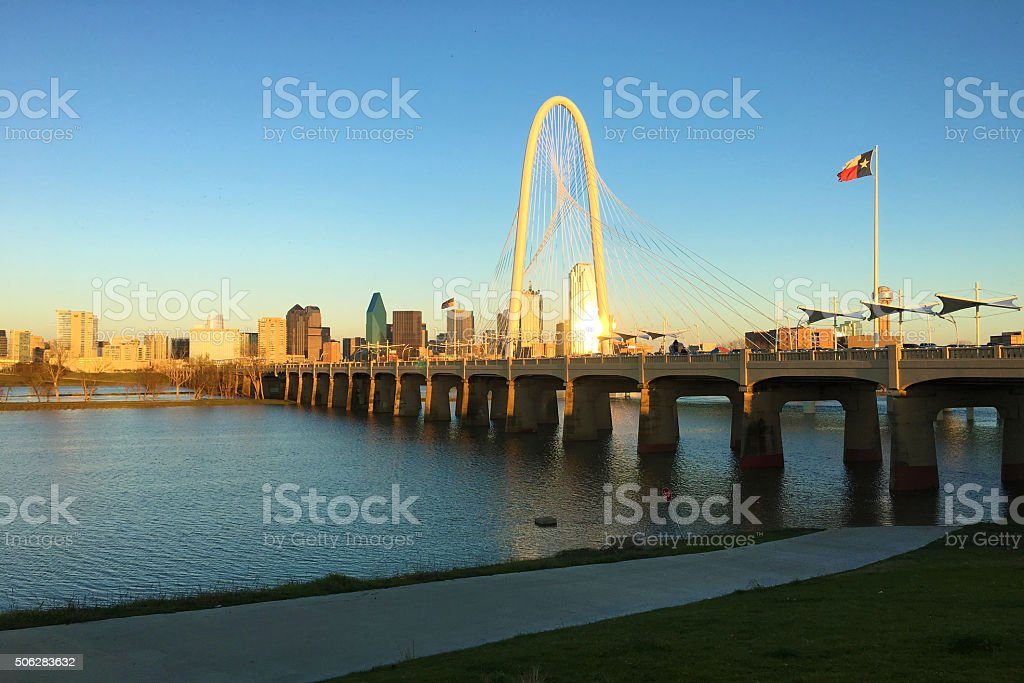 Twilight view of bridge into Dallas stock photo