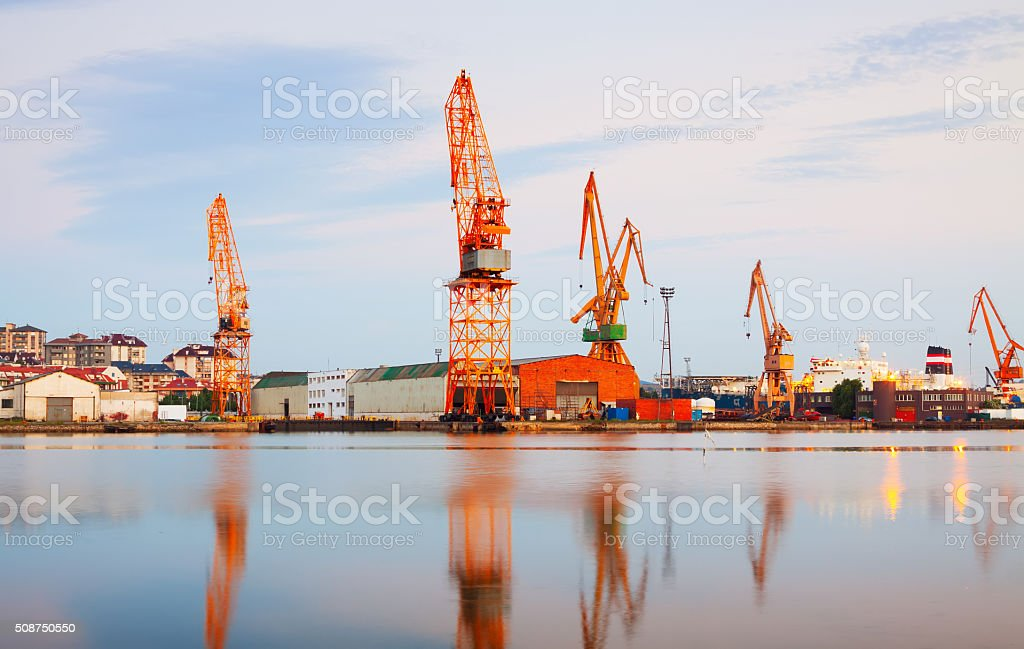 Twilight view of industrial port stock photo