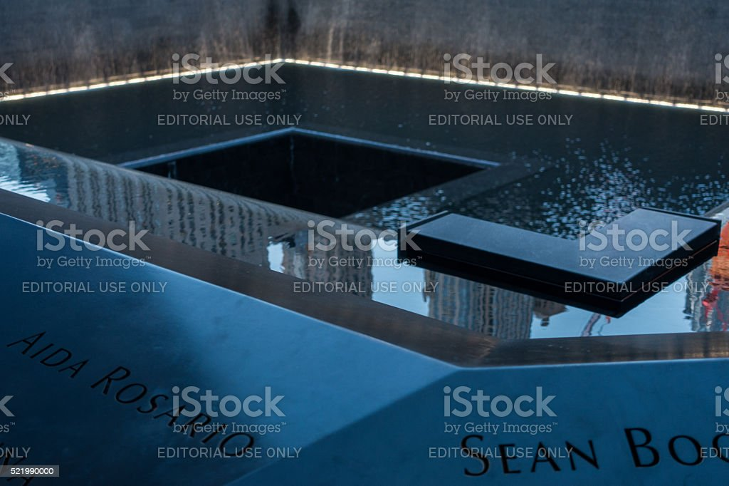 Twilight view of the 9/11 Memorial in New York stock photo