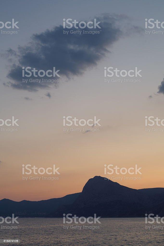 Twilight view of the mountains stock photo