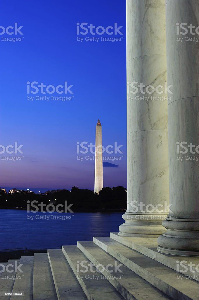 Twilight view of the Washington Monument stock photo
