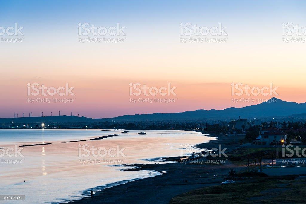 Twilight view towards Larnaca, Cyprus stock photo