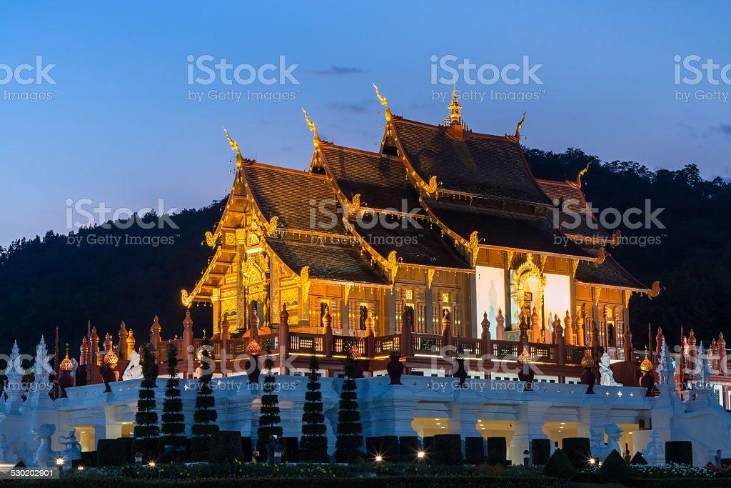 Twilight wat Ho kham luang temple northern thailand stock photo