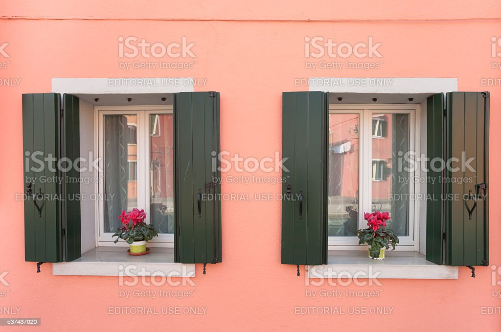 twin balconies from Burano island, Venice stock photo