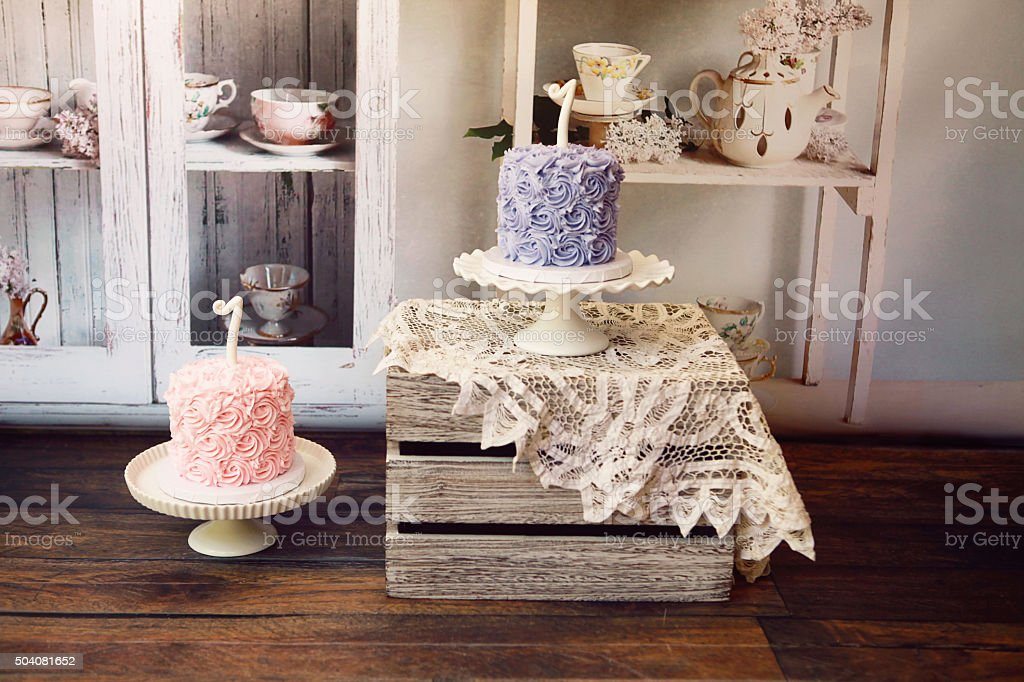 Twin Birthday Cakes stock photo