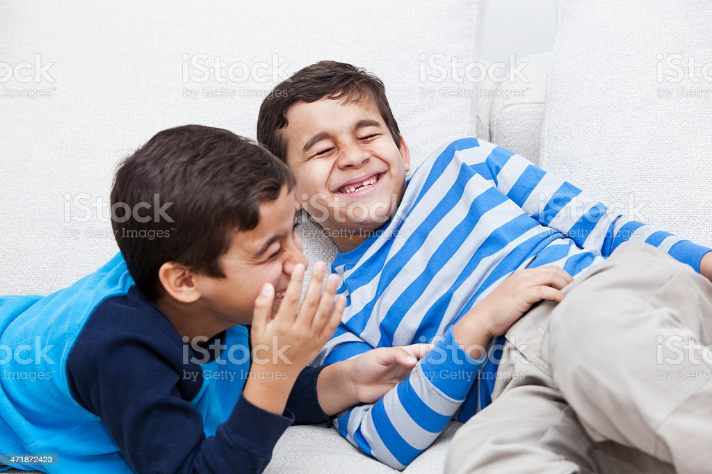 Twin boys acting silly royalty-free stock photo