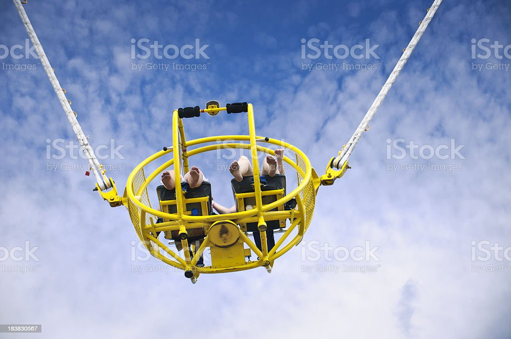 Twin Bungee Fairground Ride stock photo