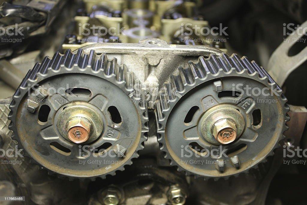 twin cam gears stock photo