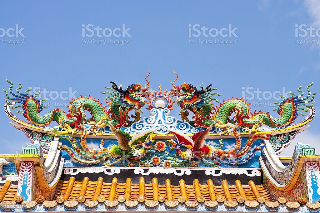 Twin Chiński Smok na dachu w Temple zbiór zdjęć royalty-free