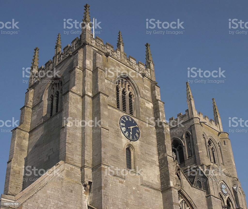 Twin church towers stock photo