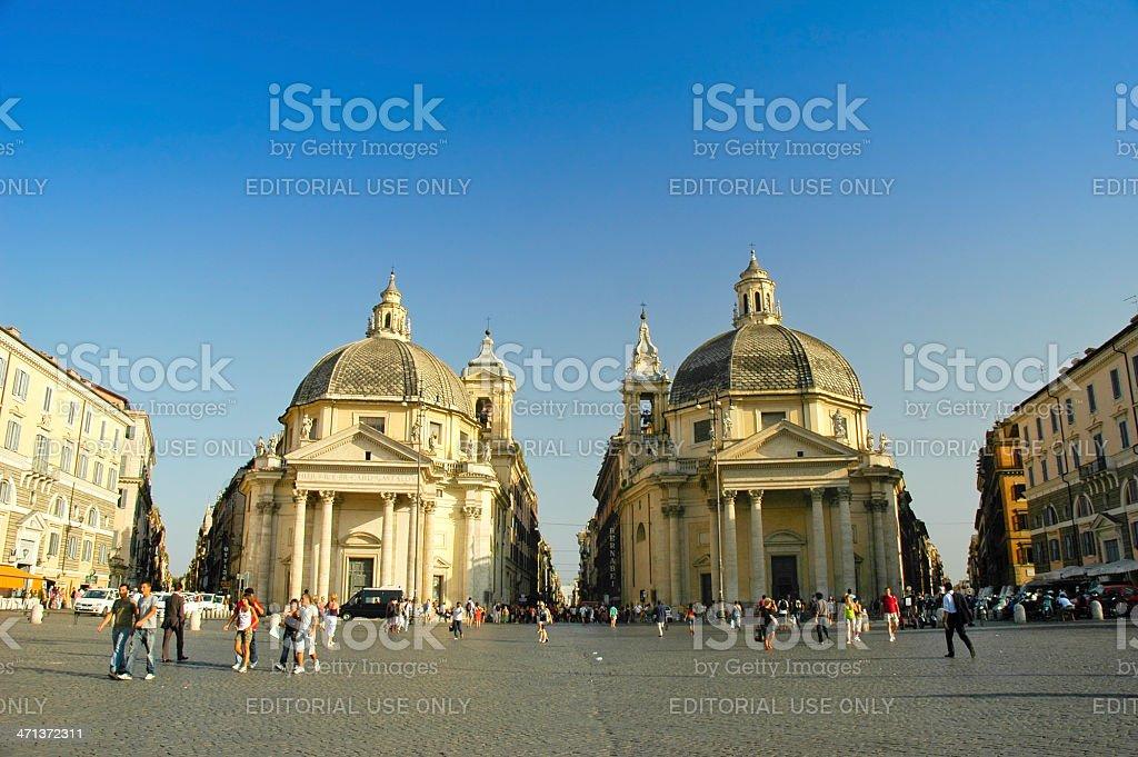 Twin churches at Piazza del Popolo stock photo