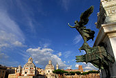 Twin churches in Rome with beautiful sky