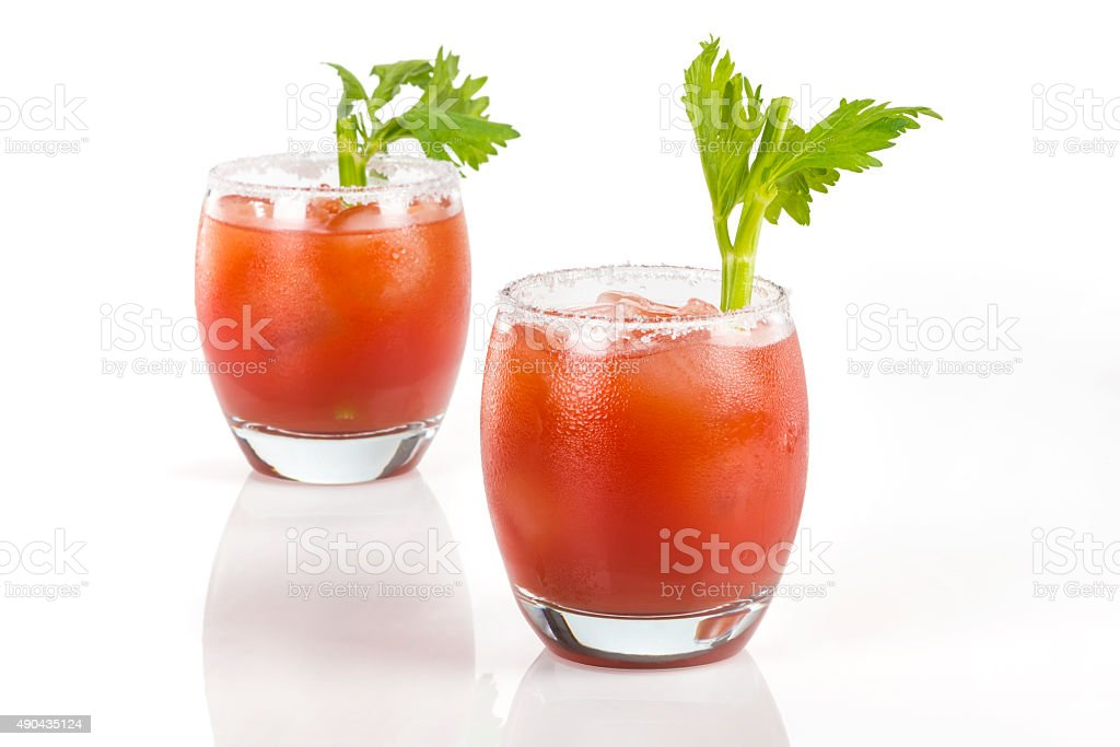 Twin Clamato cocktail glasses stock photo