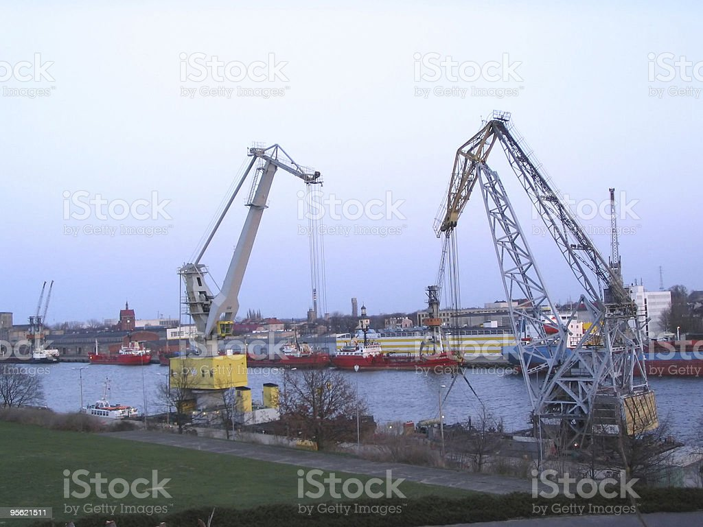 twin cranes royalty-free stock photo