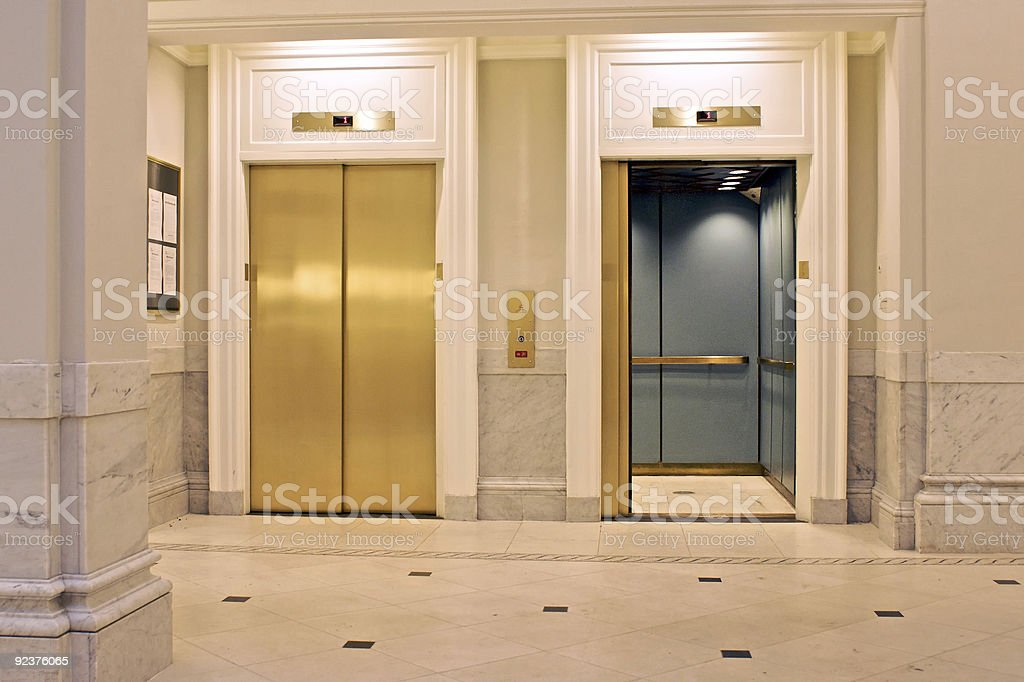 twin elevators stock photo