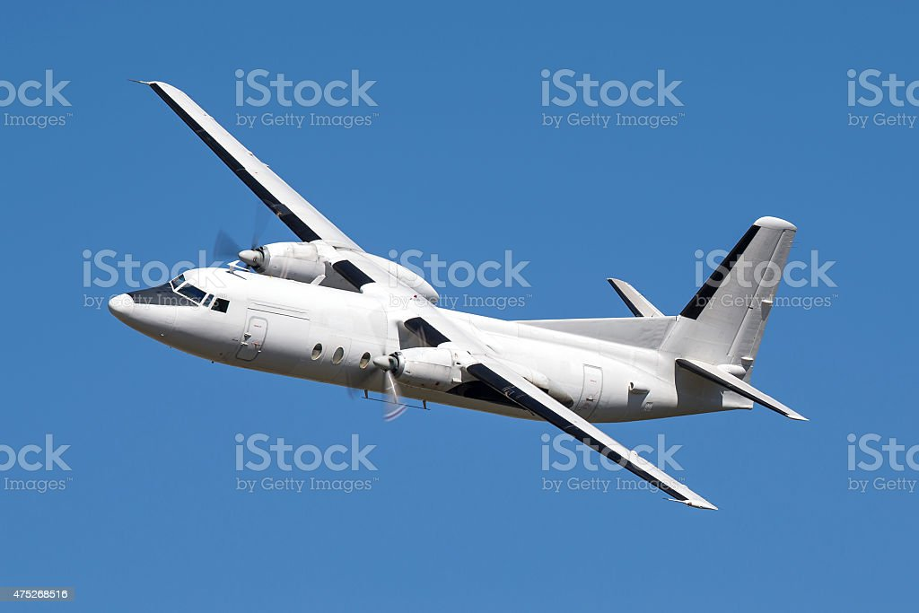 Twin engined commuter airplane stock photo