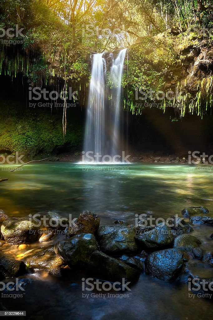 Twin Falls Maui stock photo