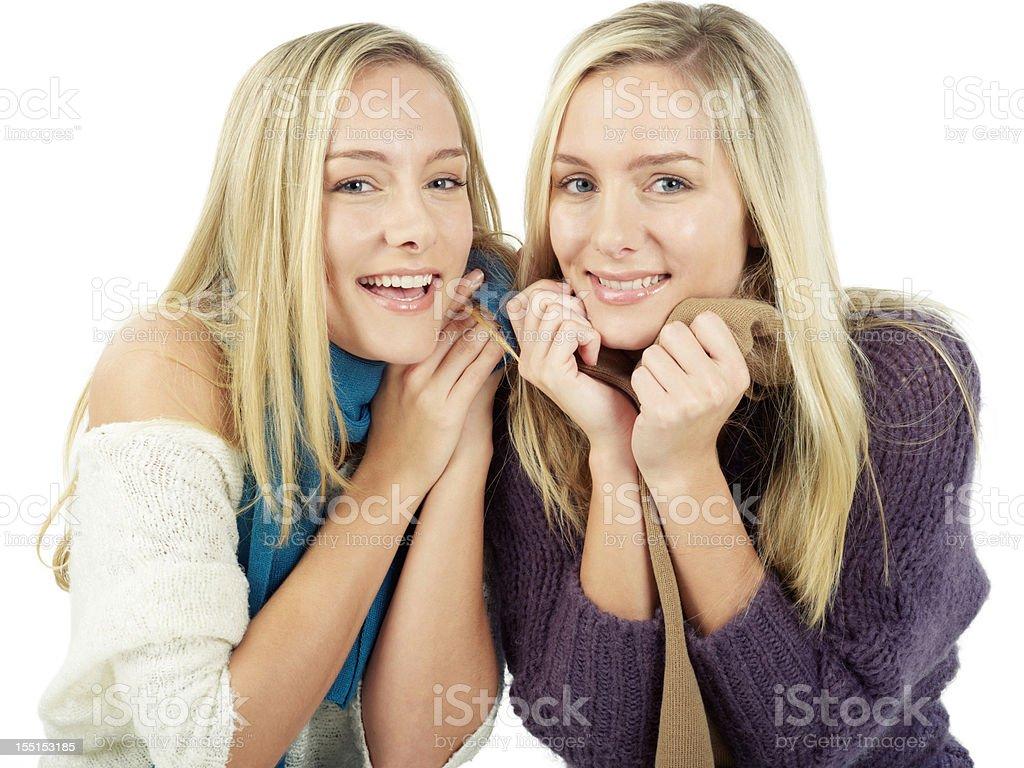 Twin girls in winter fun royalty-free stock photo