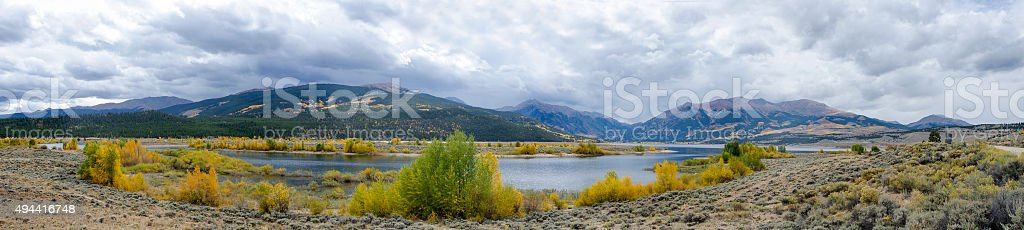 Twin Lakes and Mount Elbert in the Colorado Rocky Mountains stock photo