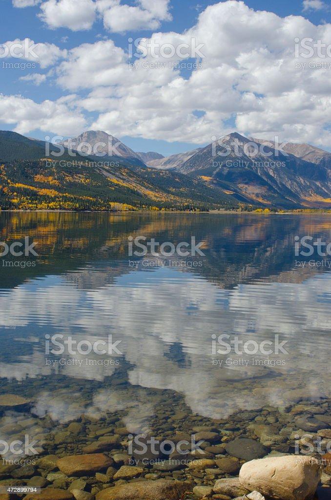 Twin Lakes Autumn Reflection stock photo