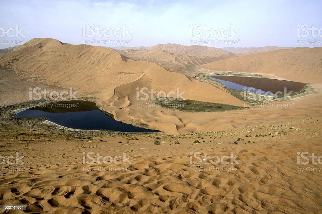 Twin lakes in Badain Jaran desert, Inner Mongolia, China stock photo
