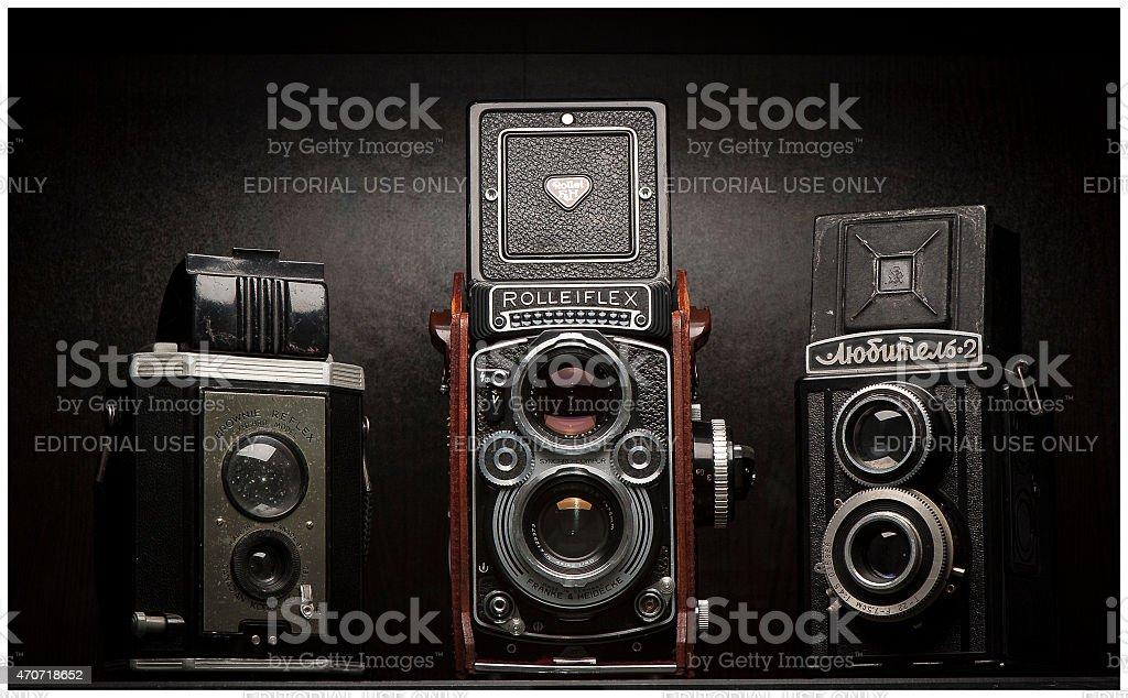 Twin Lens Reflex Vintage Film Cameras stock photo