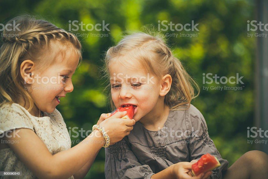 twin love sharing stock photo