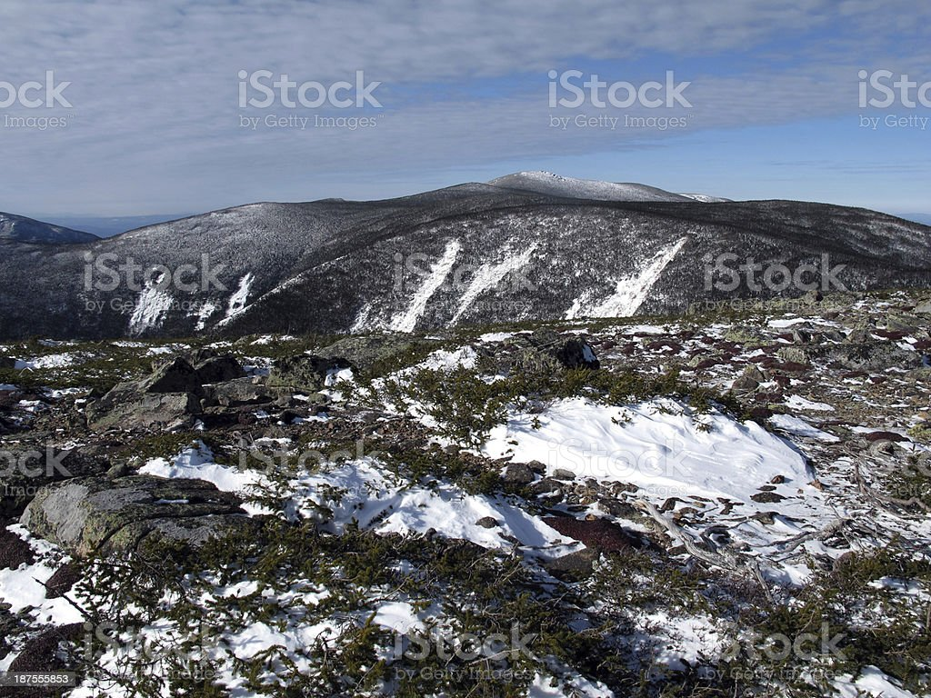 Twin Mountains as Seen from Mt Guyot stock photo