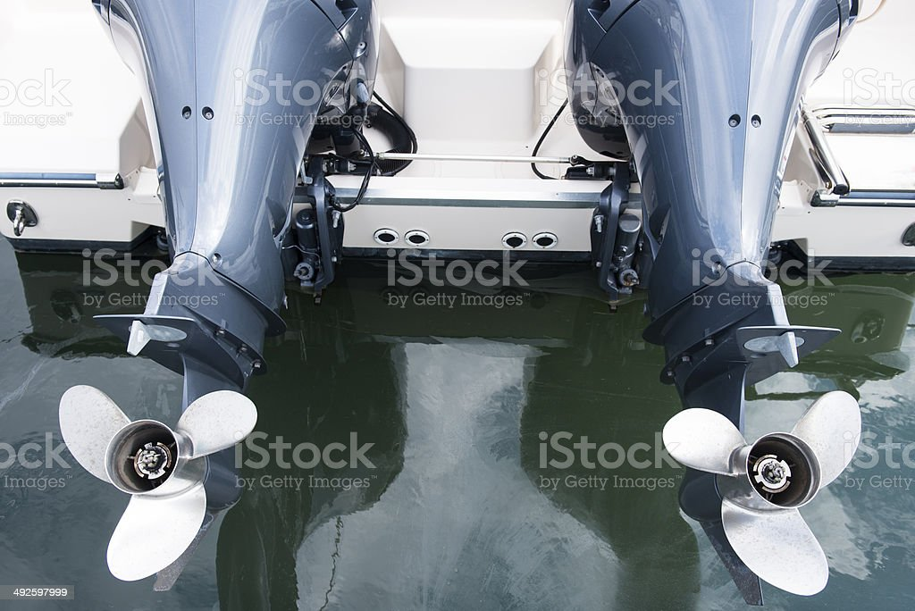 Twin or Two Outboard Motors stock photo
