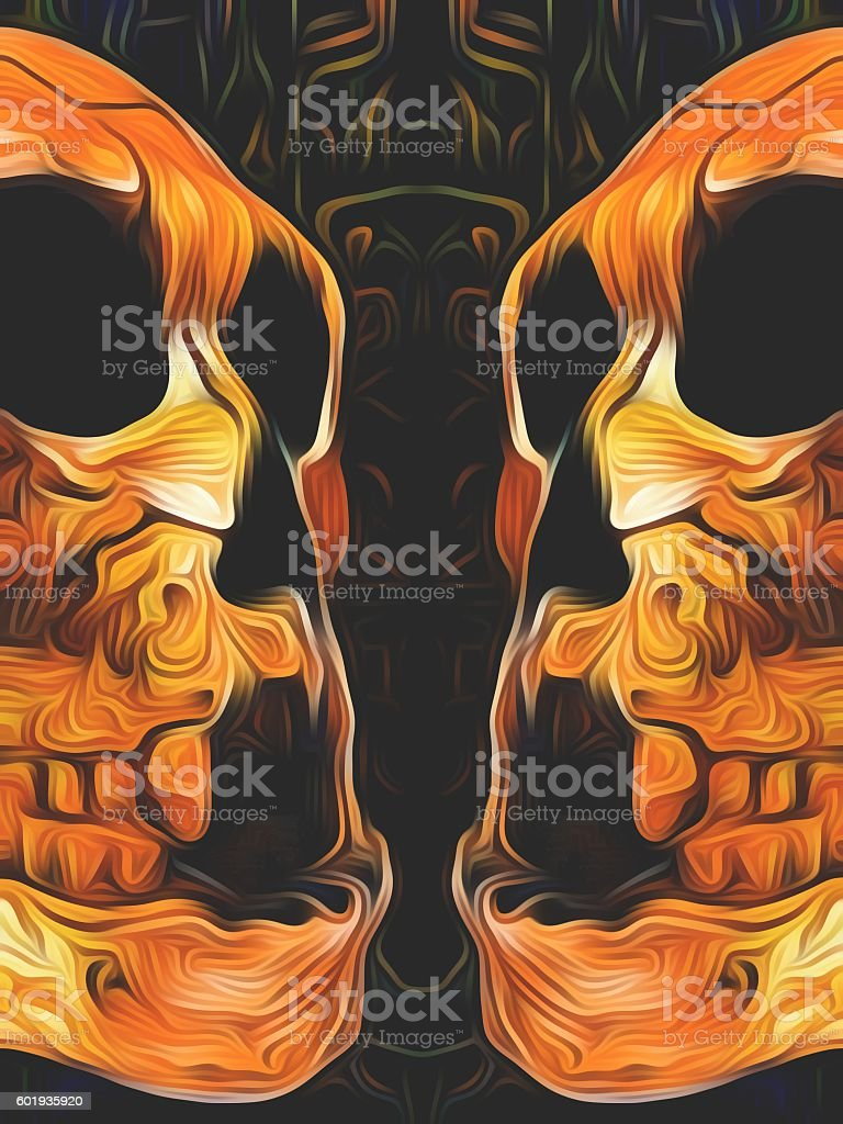 twin orange skull with black background stock photo