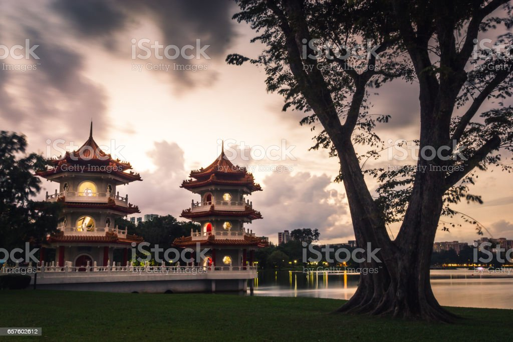 Twin pagoda at the Chinese Garden on the twilight stock photo