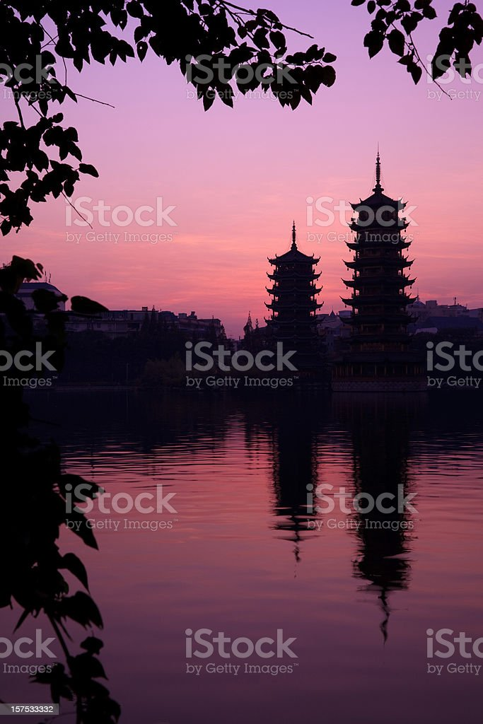 Twin Pagoda in Sunset royalty-free stock photo