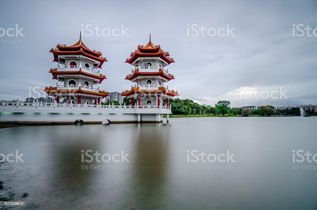 Пагода с двумя односпальными кроватями Стоковые фото Стоковая фотография