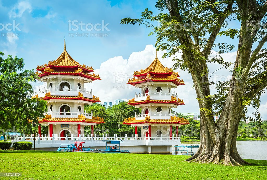 twin pagodas at the Chinese Garden in Singapore stock photo