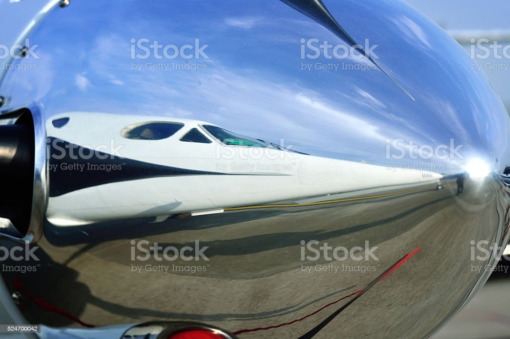 Twin Propeller Aircraft stock photo