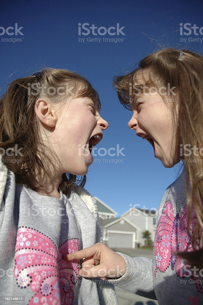 Twin Shouting Match -  Pointing royalty-free stock photo
