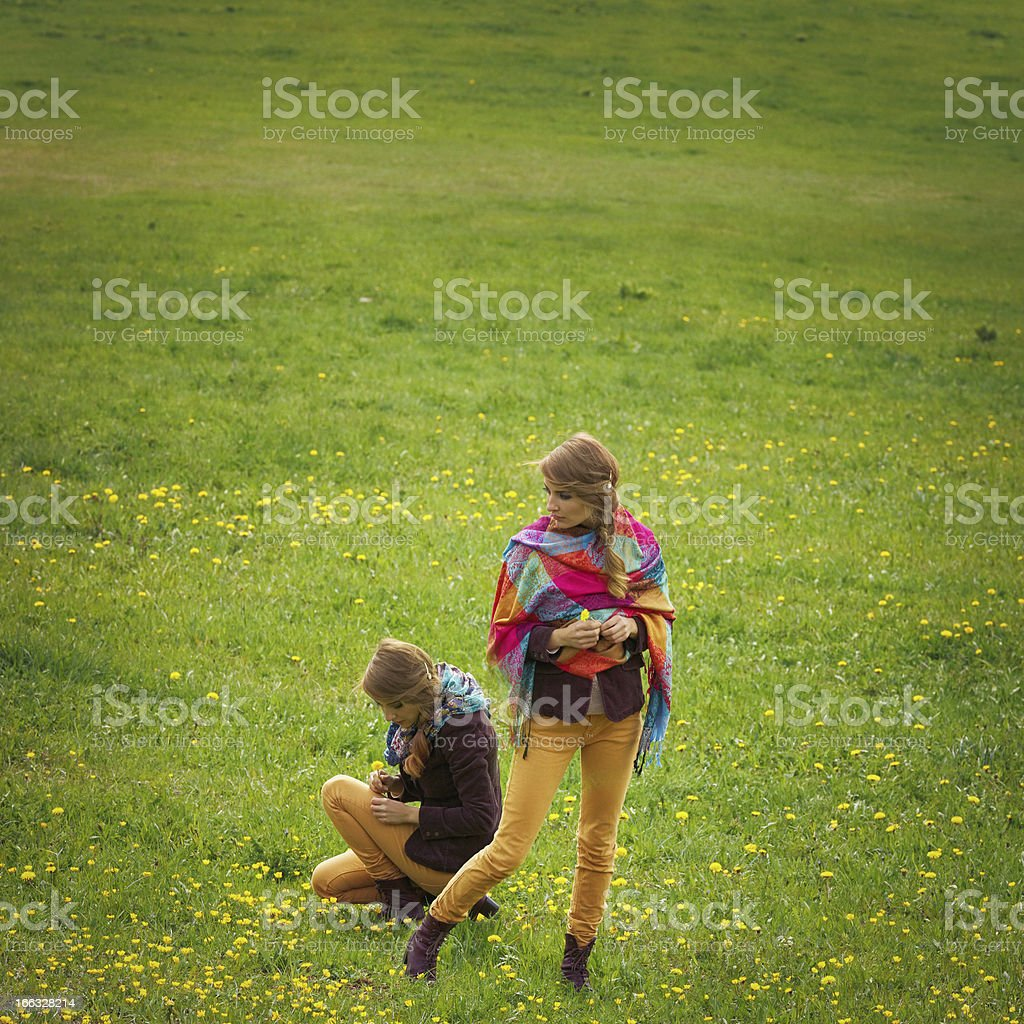 twin sisters picking flowers royalty-free stock photo