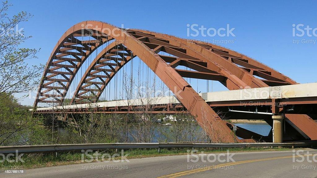 Twin Thaddeus Kosciusky Bridges, Mohawk River, Adirondack Northway, NY stock photo