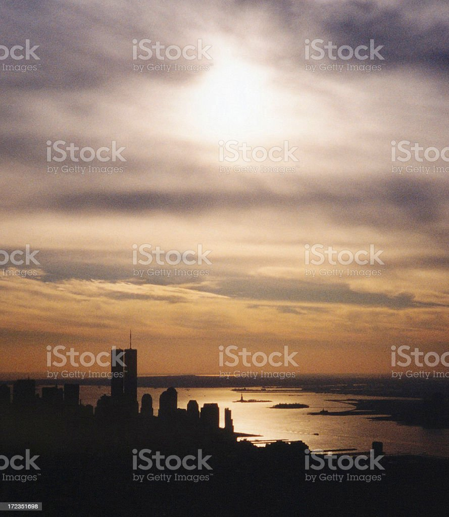 Twin Towers at Dusk stock photo