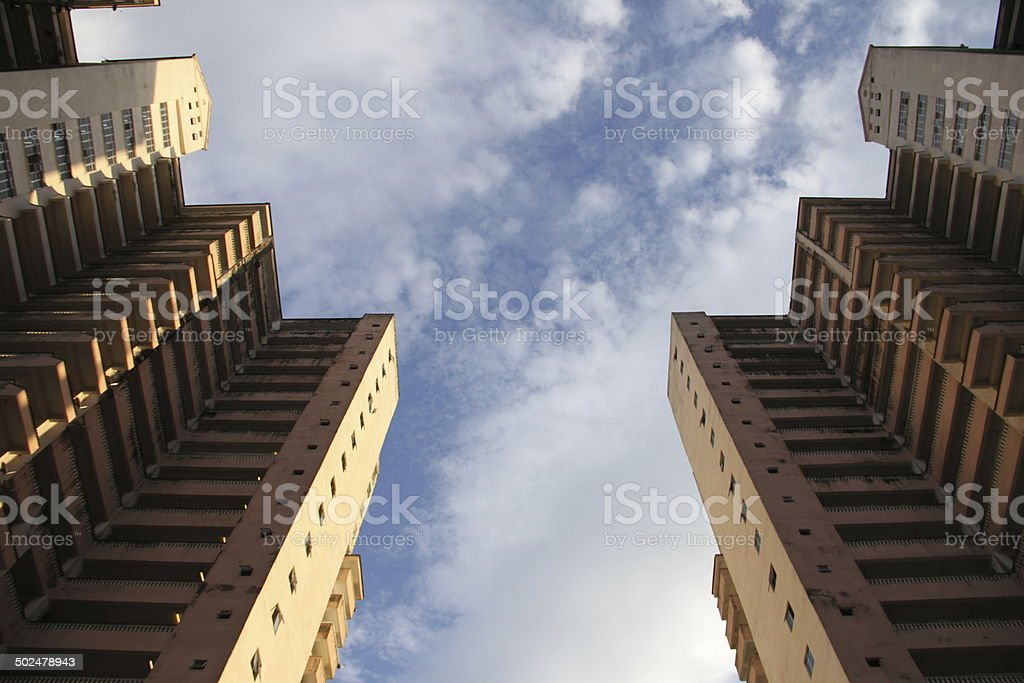 Twin Towers in the Blue Sky stock photo