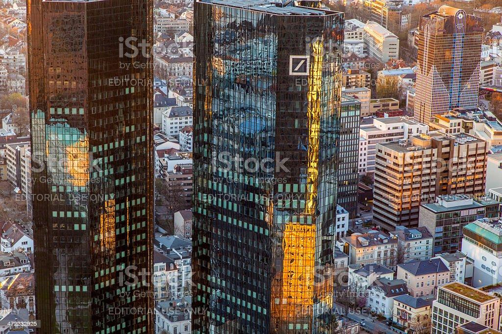twin towers of deutsche bank in sunset, Frankfurt stock photo