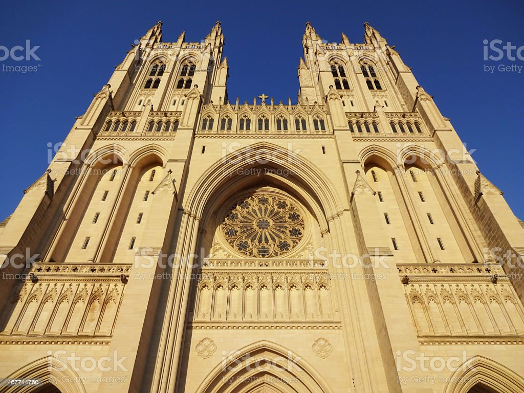 Twin Towers of the National Cathedral stock photo