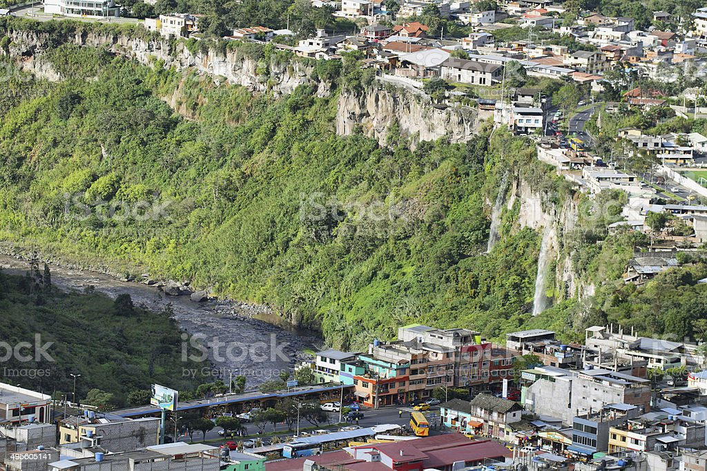 Twin waterfalls in Banos, Ecuador stock photo